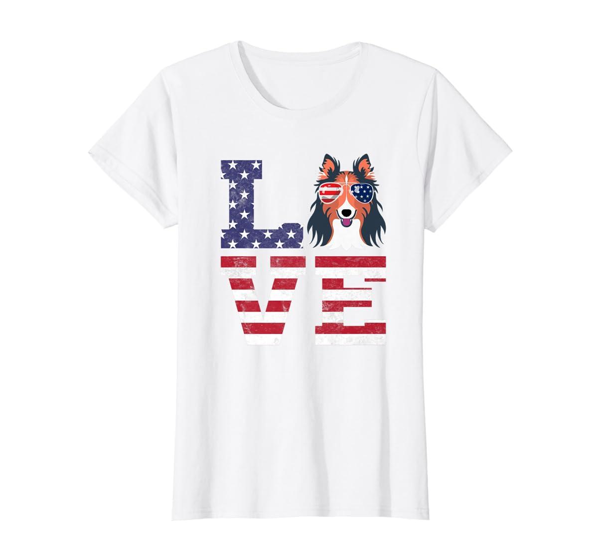 Love Rough Collie Dog American Flag 4th of july Shirt-Women's T-Shirt-White