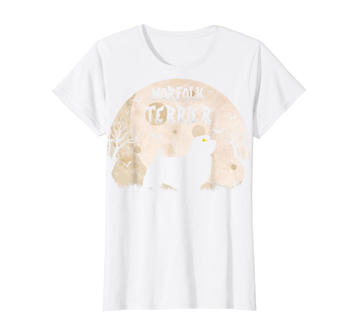 Halloween Horror Norfolk Terrier  T-Shirt-Women's T-Shirt-White
