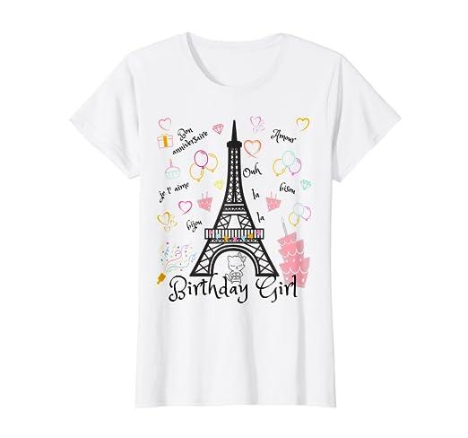 31b72b39e Amazon.com: Paris Eiffel Tower Birthday Girl T-Shirt: Clothing