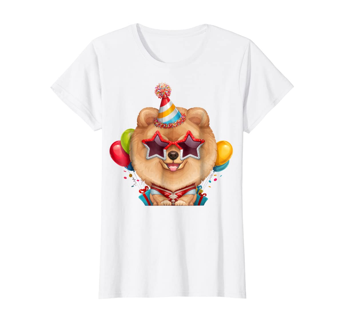 Orange Pomeranian in Glasses Birthday T-Shirt-Women's T-Shirt-White