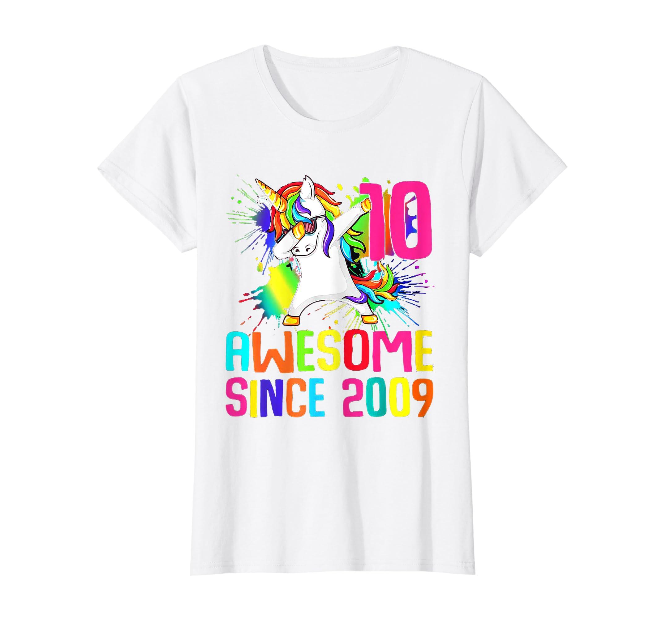 10th Birthday Unicorn Shirt Girl Daughter Gift 10 Years Old-Teehay