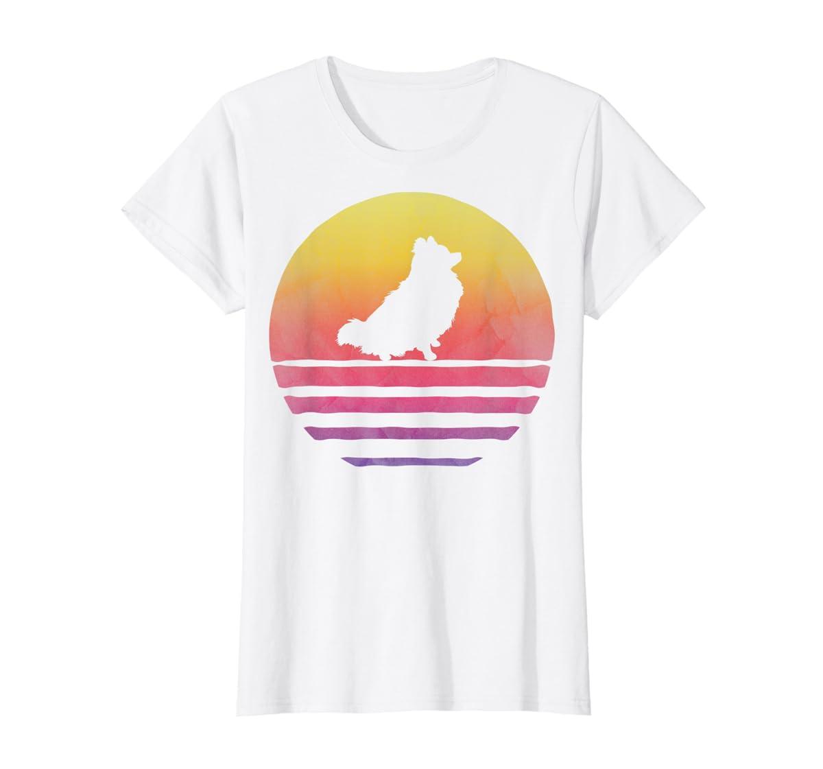 Retro Vintage Sunset Pomeranian Dog Lover Silhouette Gift T-Shirt-Women's T-Shirt-White