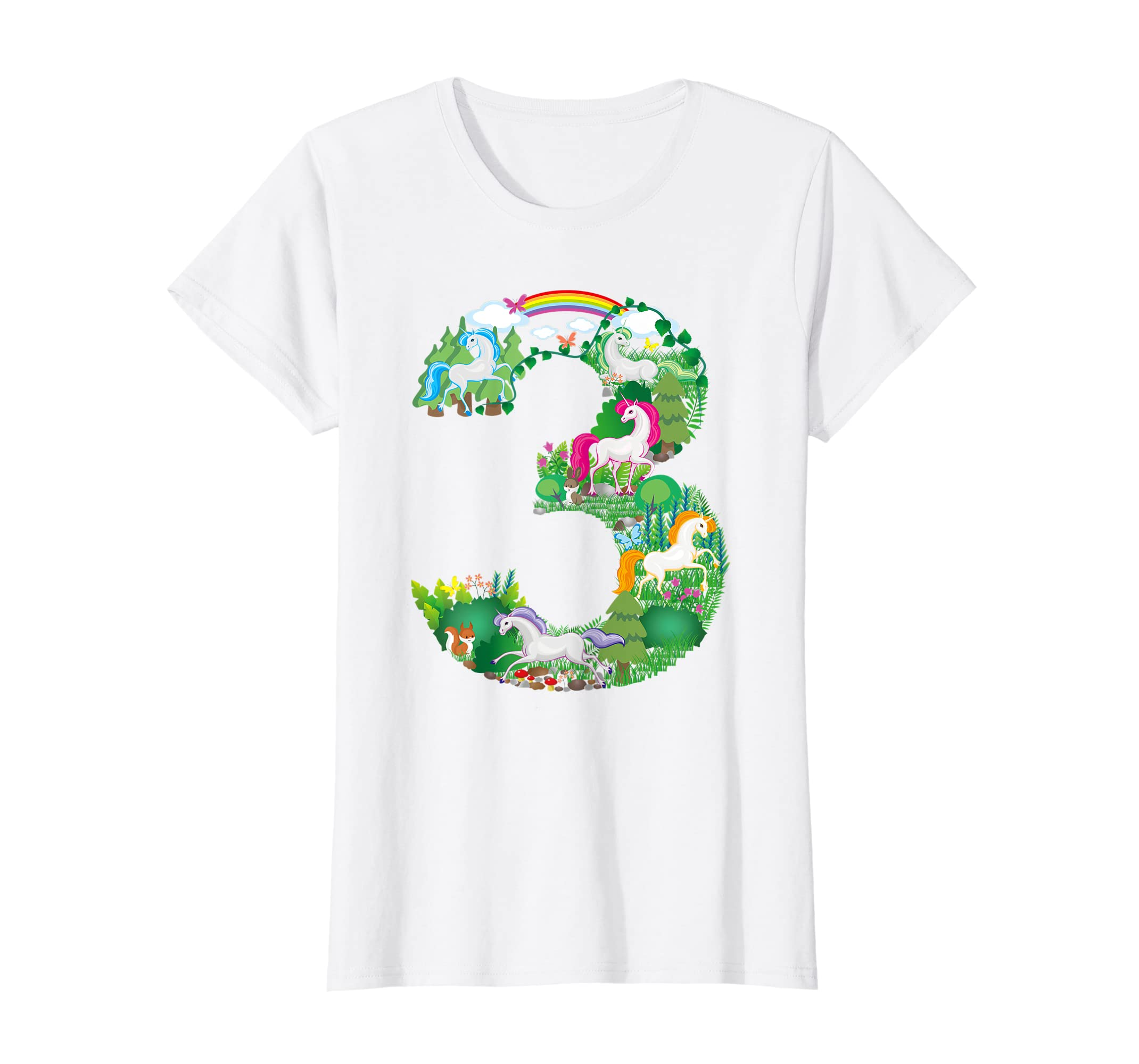 Amazon Unicorn Enchanted Forest Scene Third Birthday Number T Shirt Clothing