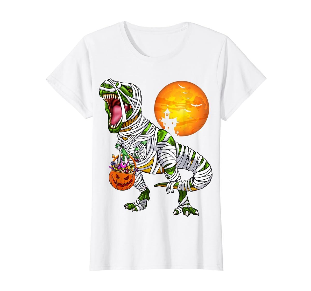 Halloween Gift For Boys Kids Dinosaur T rex Mummy Pumpkin T-Shirt-Women's T-Shirt-White