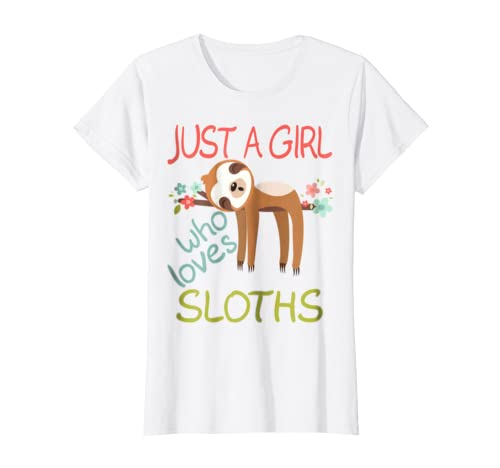 b69077e95 Amazon.com: Just A Girl Who Loves Sloths T-shirt Gift Cute Animal Tee:  Clothing