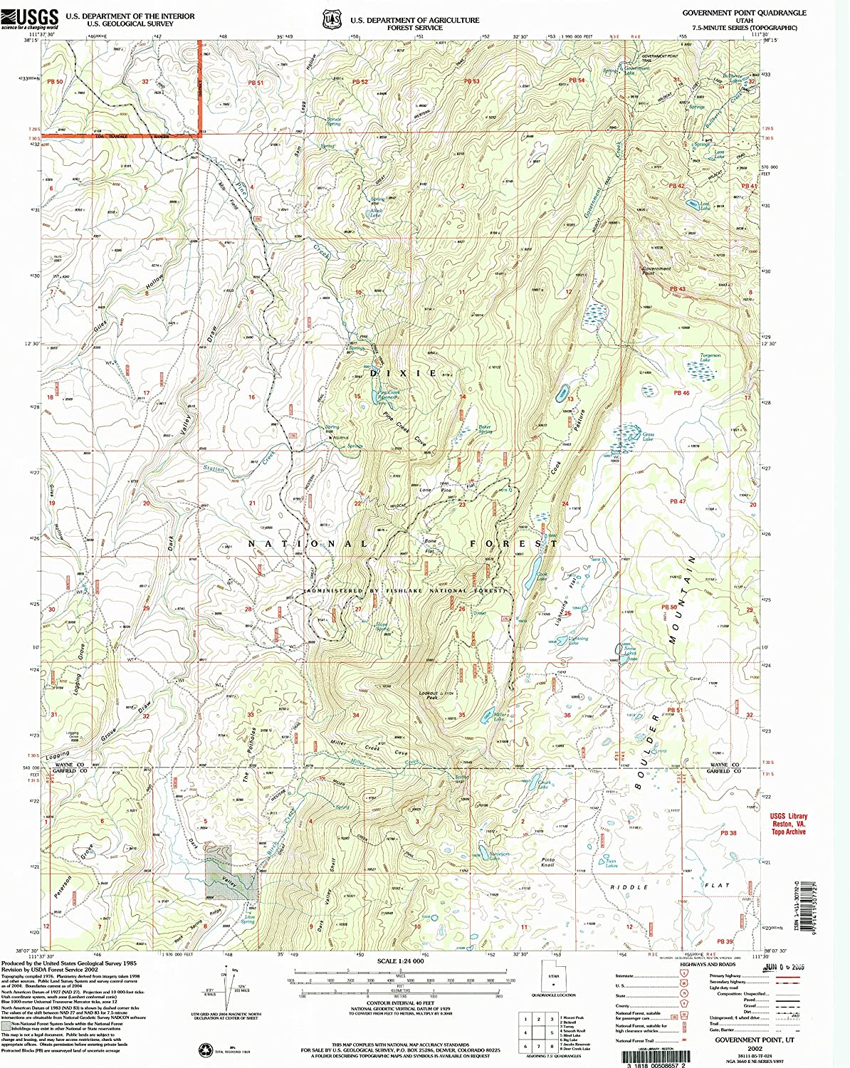 Government Point UT topo map, 1 24000 Scale, 7.5 X 7.5 Minute, Historical, 2002, Updated 2005, 26.5 x 21.8 in