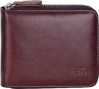Men's Leather Zipper Wallet RFID Blocking Zip Around Wallet Bifold Multi Card Holder Purse