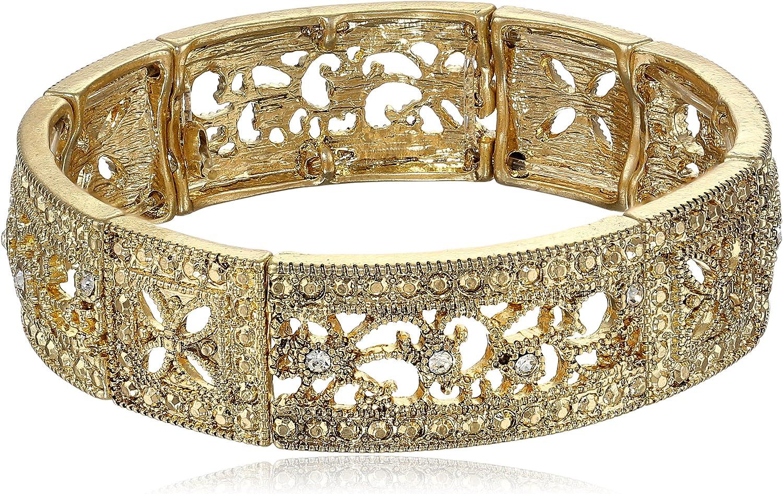 1928 Jewelry Vintage Lace Crystal Filigree Stretch Bracelet