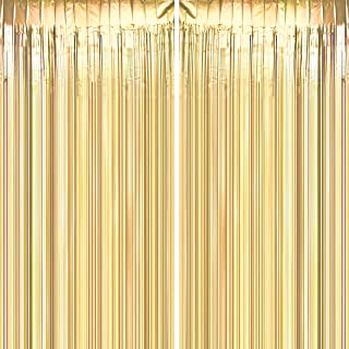 Gold Party Tinsel Foil Fringe Curtains - Wild One Baby Shower First Birthday Photo Backdrops Bachelorette Wedding Bridal Shower Party Decor Photo Booth Props Backdrops Decorations, 2pc