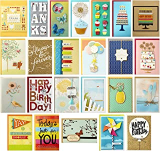 Hallmark 5EDX3456 All Occasion Handmade Boxed Set of Assorted Greeting Cards with Card Organizer (Pack of 24)—Birthday, Ba...