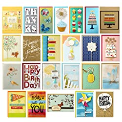 Hallmark All Occasion Handmade Boxed Set of Assorted Greeting Cards with Card Organizer (Pack of 24)