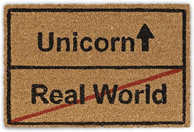 Relaxdays Coir Unicorn/Real World Doormat, Funny Coconut Fibre Rug, Natural, 40x60 cm, Natural/Black