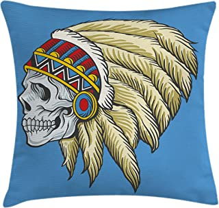 Ambesonne Tribal Throw Pillow Cushion Cover, Dead Skull with Feathers Tattoo Folk Aztec Pattern, Decorative Square Accent Pillow Case, 16