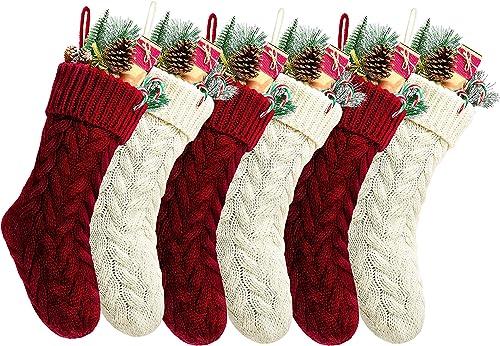 "Kunyida Pack 6,18"" Unique Burgundy and Ivory White Knit Christmas Stockings Style3"