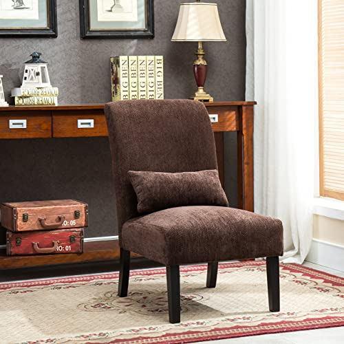 Exceptionnel Roundhill Furniture AC160CH Chocolate Pisano Chenille Fabric Armless  Contemporary Accent Chair With Matching Kidney Pillow