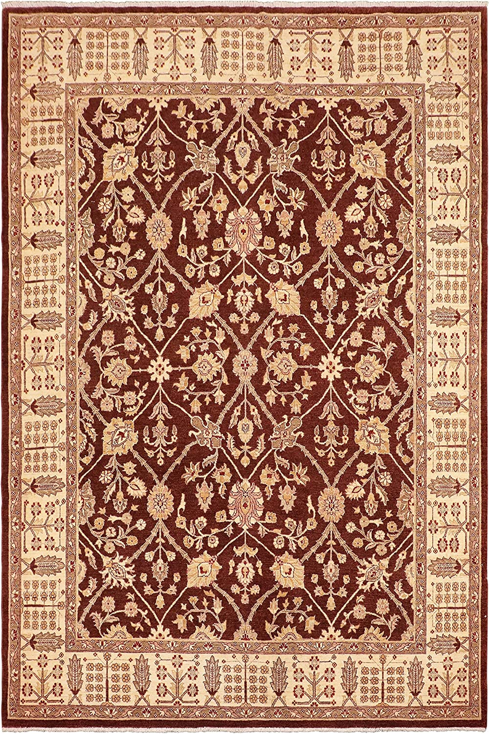 Inventory unisex cleanup selling sale Oriental Ziegler Xenia Brown Ivory Wool Rug 10'7'' x 8'4'' -
