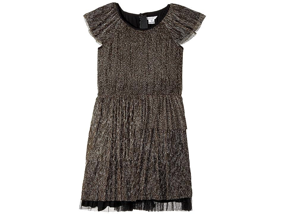 Little Marc Jacobs Pleaded Lurex Details Short Sleeve Dress (Big Kids) (Noir/Dore) Girl
