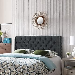 Christopher Knight Home Emma Wingback Queen/Full Tufted Dark Grey Fabric Headboard, Gray/Black