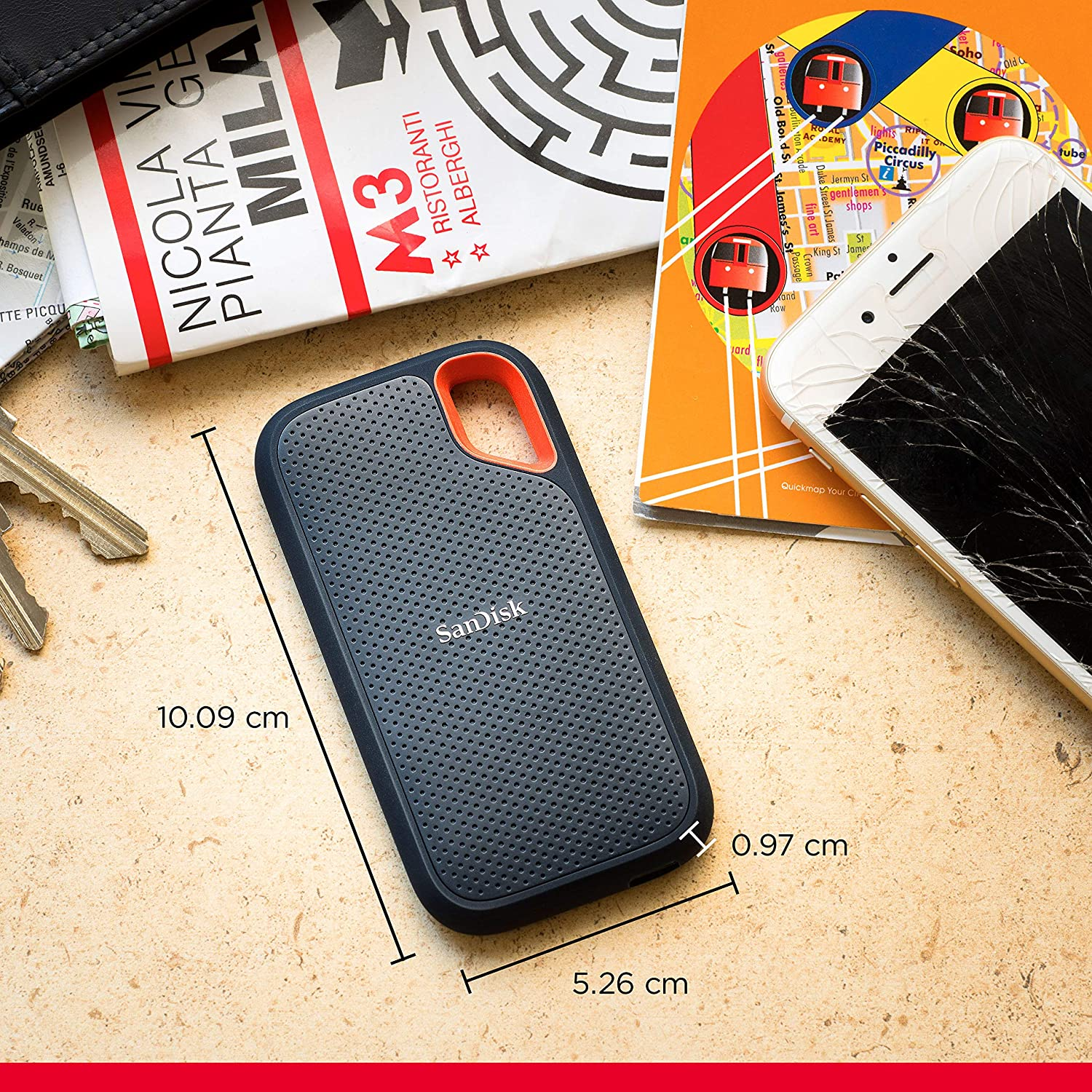 SanDisk Extreme 2TB Portable NVMe SSD Water and Dust-Resistant up to 1050MB//s Read and 1000MB//s Write Speed USB-C