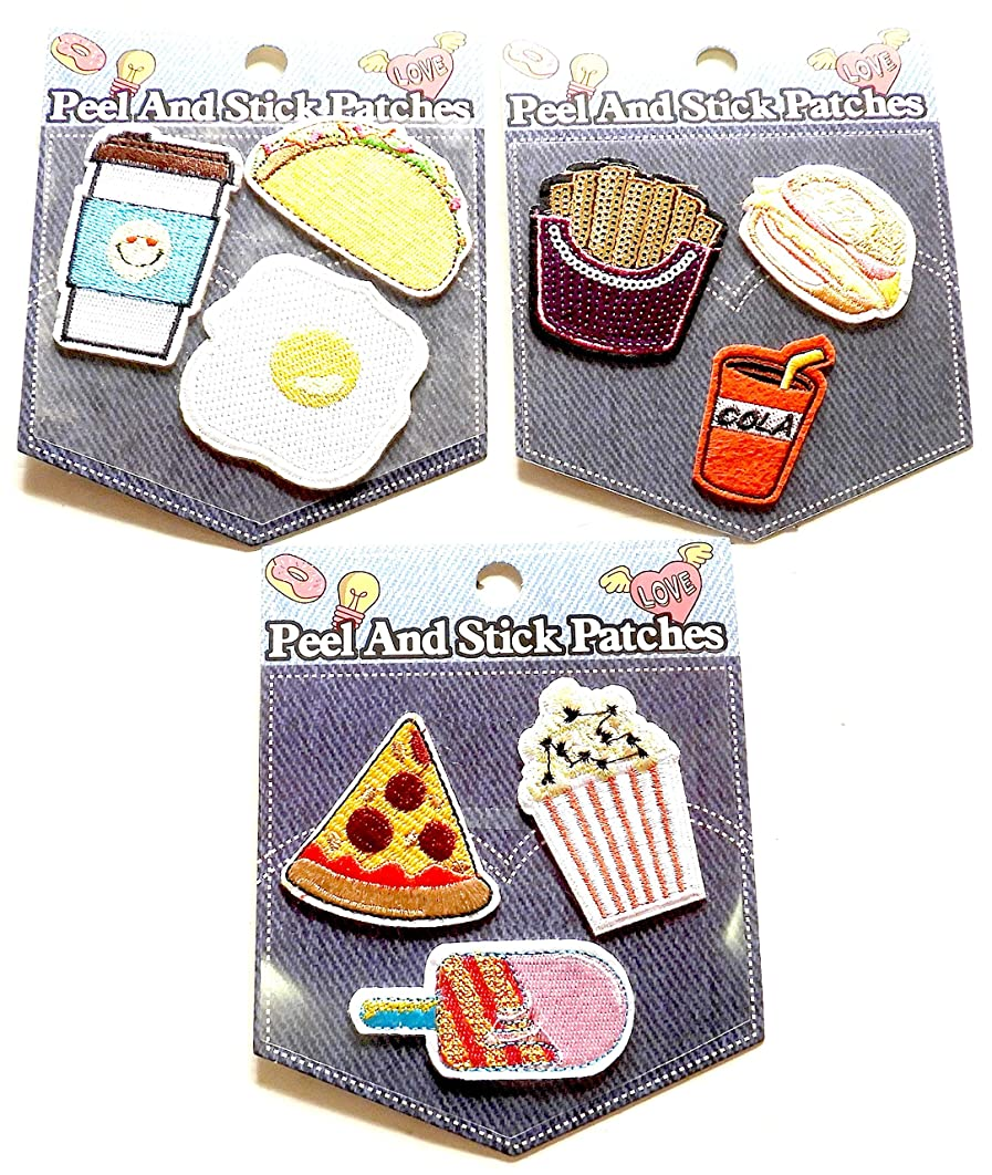 DINY Home & Style 9 Piece Embroidered Food Adhesive Sticker Patches