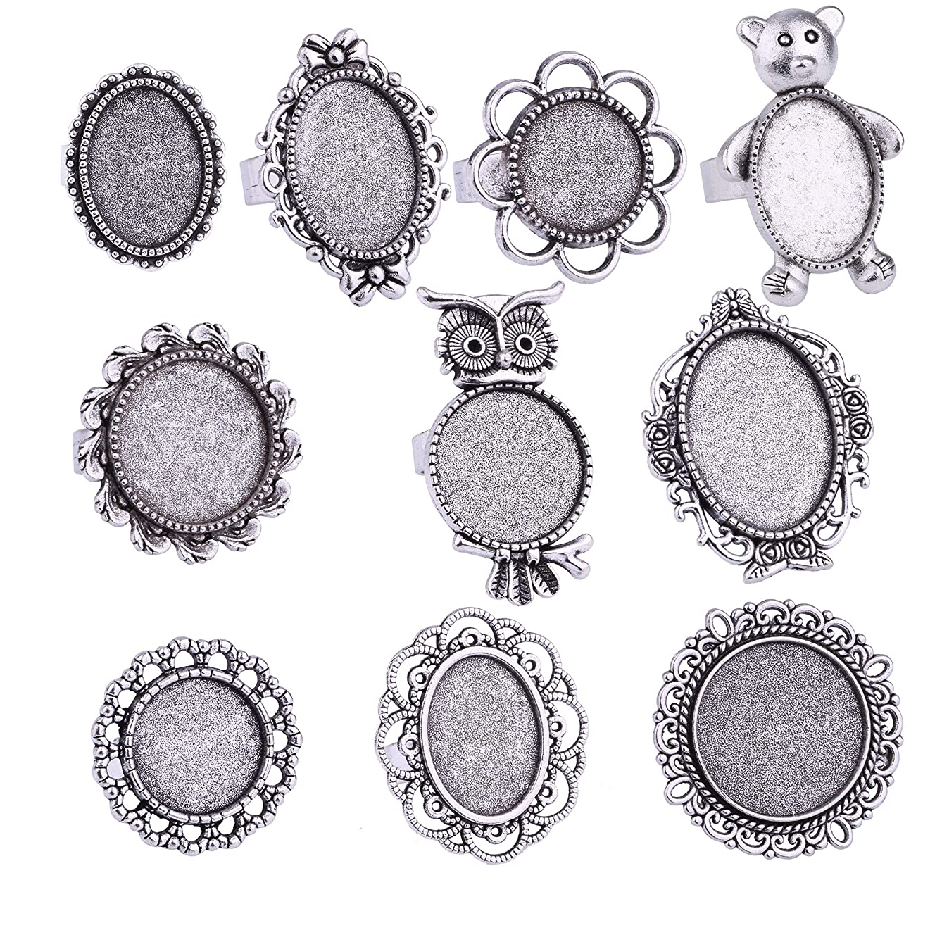 20pcs Antique Silver Round Oval Cabochon Opening Adjustable Rings Settings Finger Ring Components Iron Cabochon Bezel Settings for Ring Making (Antique Silver)