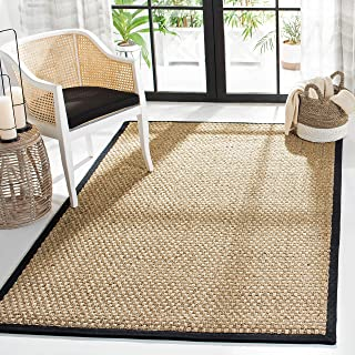 Safavieh Natural Fiber Collection NF114C Basketweave Natural and Black Summer Seagrass Area Rug (4' x 6')