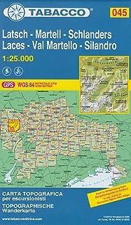 45 Latsch - Martell - Sclanders, Laces - Val Martello - Silandro, 1:25.000 senderismo topográfico, ciclismo y esquí de mapa de gira (Dolomitas, Alpes)
