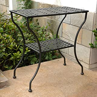 International Caravan 74361 Iron 2-Tier Patio Side Table, Antique Black