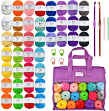 Mira Handcrafts 40 Mini Yarns with Non-Woven Crochet Knitting Carry Bag, 4 Crochet Locking Stitch Markers, 2 Crochet Hooks...