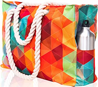 SHYLERO Beach Bag XL. Waterproof (IP64). L22 xH15 xW6 w Cotton Rope Handles, Top Zip, Two Outside Pockets. Vibrant Tote Has Waterproof Phone Case, Built-in Key Holder, Bottle Opener