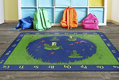 Flagship Carpets Frogs Educational Rug for Children's Classroom Carpet, Playroom, Kids Room Mat, or Home Learning Rug, 6' x 9', Rectangle