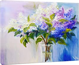 Blue and White Lilacs in Vase Floral Art Canvas Print