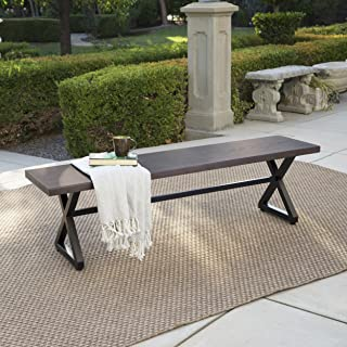 Christopher Knight Home 302487 Rosarito Outdoor Brown Aluminum Dining Bench with Black Steel Frame