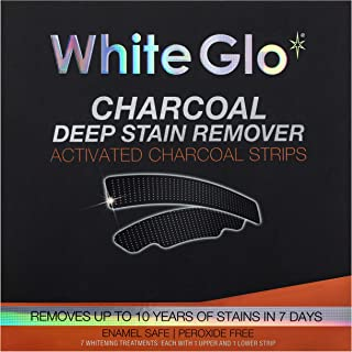White Glo Charcoal Deep Stain Remover Activated Charcoal Strips, Remove 10 Years of Stains in 7 Days With Long Lasting Res...