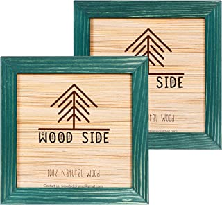 WOOD SIDE ORBIS Rustic Wooden Square Pucture Frames 4x4 4x4 Green