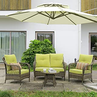 N&V Outdoor Furniture Wicker Chairs Modern Patio Chairs Furniture Sofa with Pillows Tea Table Glass Top Thick Durable Seat...