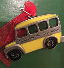 product image for Pewter School Bus Teacher Ornament Ornament Inspirational Saying Keepsake Ornament Decoration