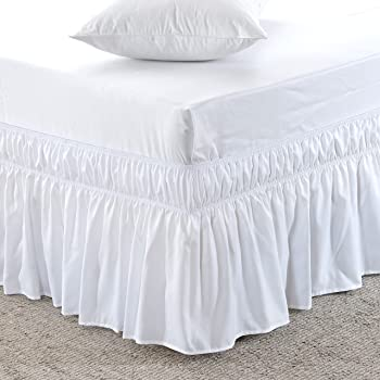 MEILA Bed Skirt, Easy to Install Wrap Around Dust Ruffled White Skirts for Twin and Full Size Beds 16 Inch Drop