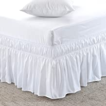 MeiLa Three Fabric Sides Wrap Around Elastic Solid Bed Skirt Easy On/Easy Off Dust Ruffled Bed Skirts 16 inch Tailored Dro...