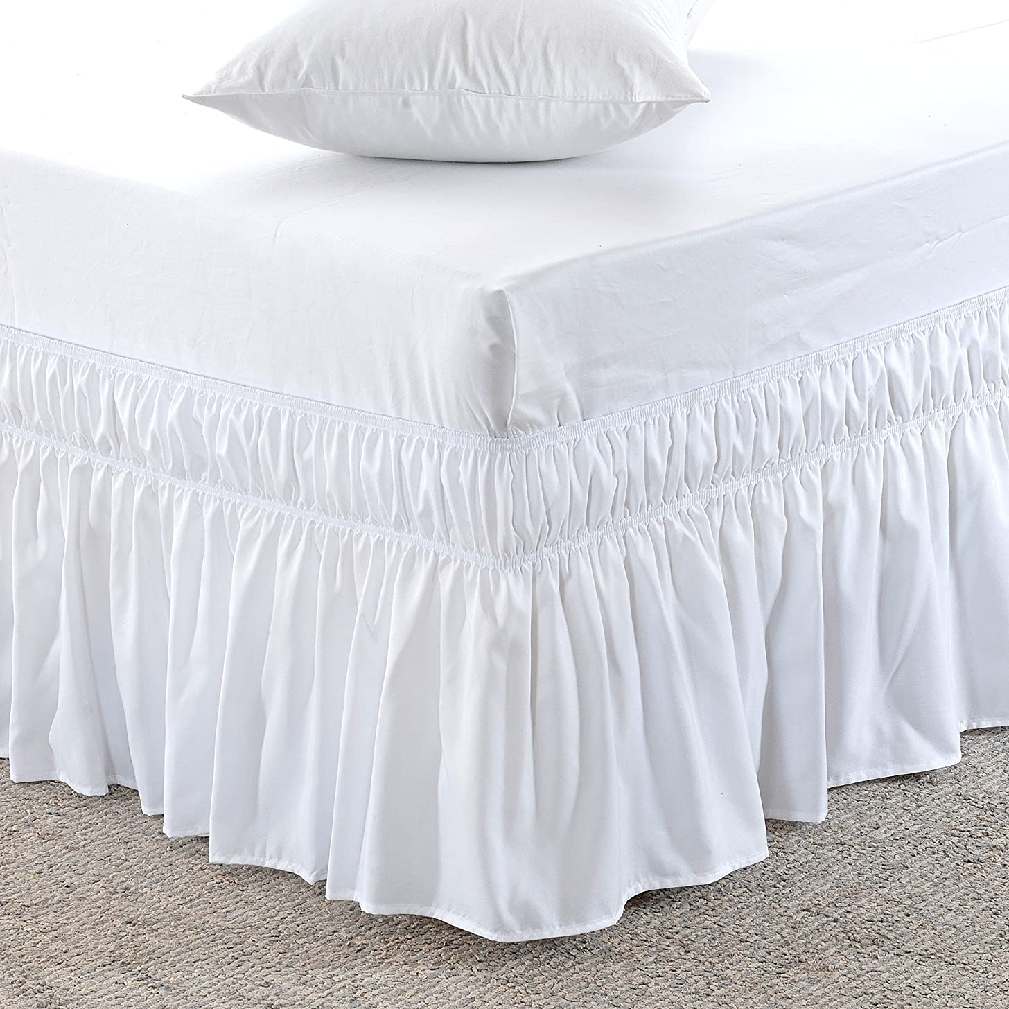 MEILA Three Fabric Sides Wrap Around Elastic Solid Bed Skirt, Easy On/Easy Off Dust Ruffled Bed Skirts 16 Inch Tailored Drop (White Twin/Full)