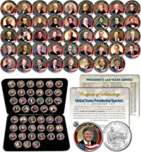 ALL 45 United States PRESIDENTS Full Coin Set Colorized DC Quarters w/Box & COA