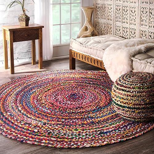 Casual Handmade Braided Cotton Multi Round Area Rugs, 6 Feet. Diameter Round (6