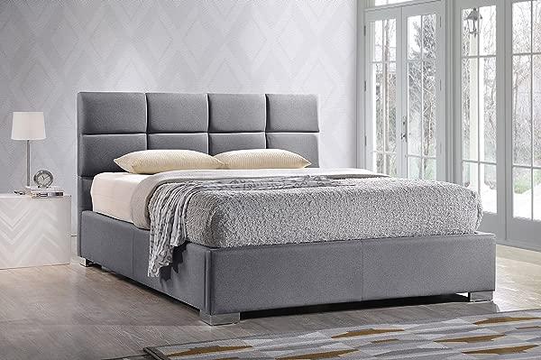 Baxton Studio BBT6481 Full Grey Sophie Modern Contemporary Fabric Upholstered Platform Bed Full Grey
