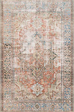 "Loloi Loren Collection Vintage Printed Persian Area Rug 7'-6"" x 9'-6"" Terracotta/Sky"