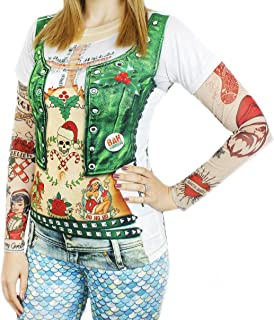 Faux Real Women's Xmas Vest with Tattoos Printed T-Shirt, Adult Size Small