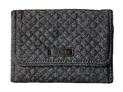 Vera Bradley Iconic RFID Riley Compact Wallet (Denim Navy) Wallet Handbags
