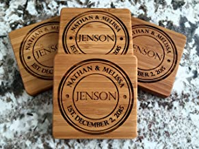 Monogram Wood Coasters for Drinks - Personalized Wedding-Gifts, Bridal Shower-Gifts (Set of 4, Jenson Design)