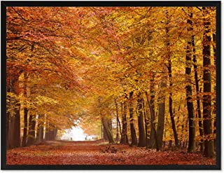 Autumn Road Yellow Landscape Photo Canvas Print with Picture Frame Home Decor Wall Art Decoration Display Gift Ideas 28