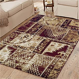 Superior Parquet Collection Area Rug, 8mm Pile Height with Jute Backing,  Vintage Patchwork Persian Rug Design, Fashionable and Affordable Woven Rugs, 8' x 10' Rug, Red & Black