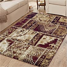 Superior Parquet Collection Area Rug, 8mm Pile Height with Jute Backing, Vintage Patchwork Persian Rug Design, Fashionable and Affordable Woven Rugs, 5' x 8' Rug, Red & Black